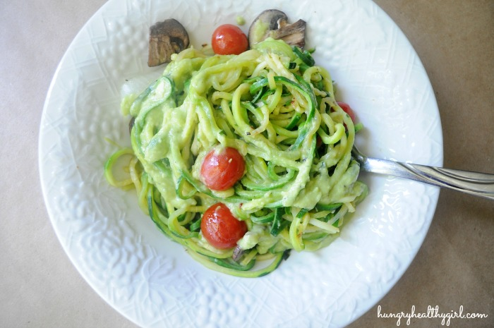 zucchini pasta with creamy avocado cucumber sauce kim 39 s cravings. Black Bedroom Furniture Sets. Home Design Ideas