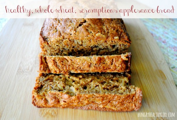 The most scrumptious healthy whole wheat applesauce bread!