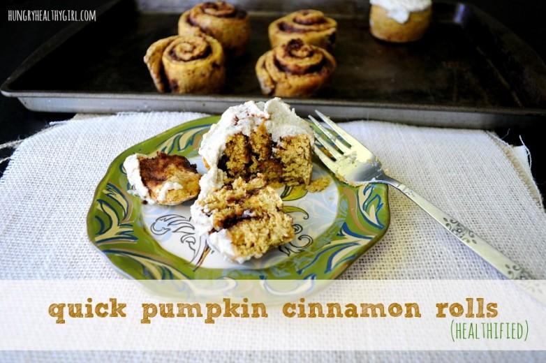 Quick Pumpkin Cinnamon Rolls {healthified and vegan} | Hungry Healthy ...