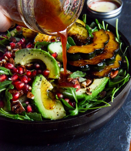 Autumn Arugula Salad with Caramelized Squash Spiced Pecans and Pomegranate Ginger Vinaigrette