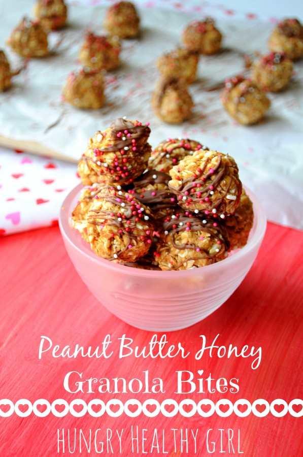 {Peanut Butter Honey Granola Bites} A healthy treat for Valentine's Day! | Hungry Healthy Girl