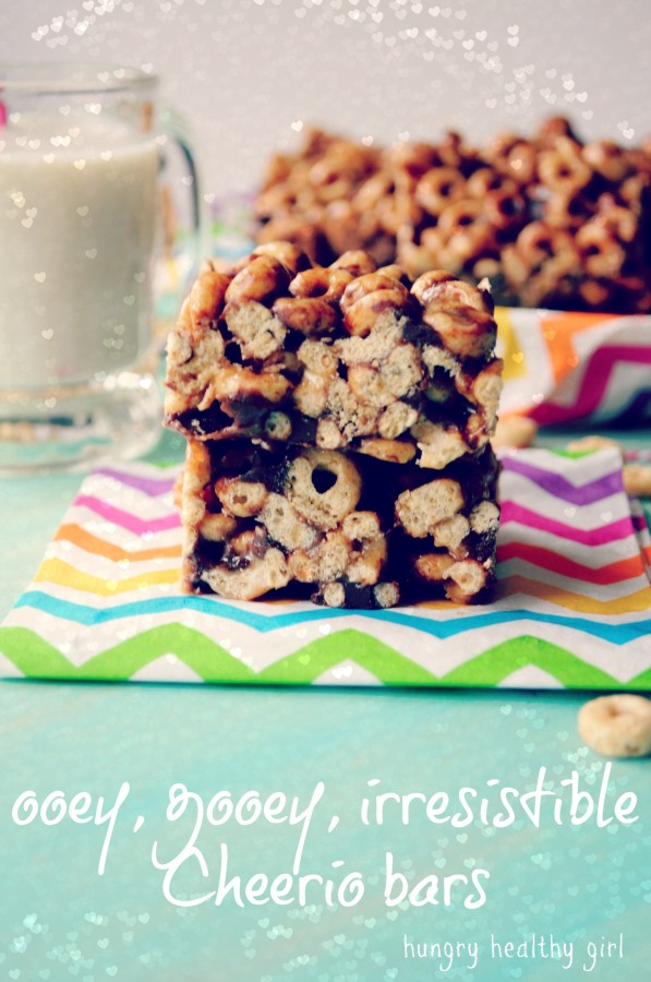 Almond Butter Honey Cheerio Bars- ooey, gooey and absolutely irresistible! Made healthier.