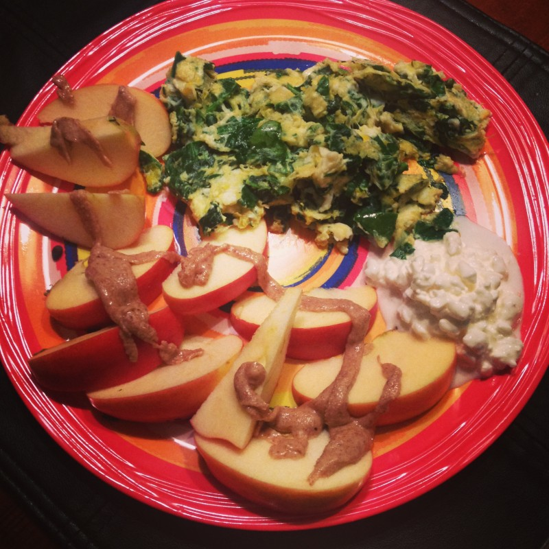 dinner egg and spinach
