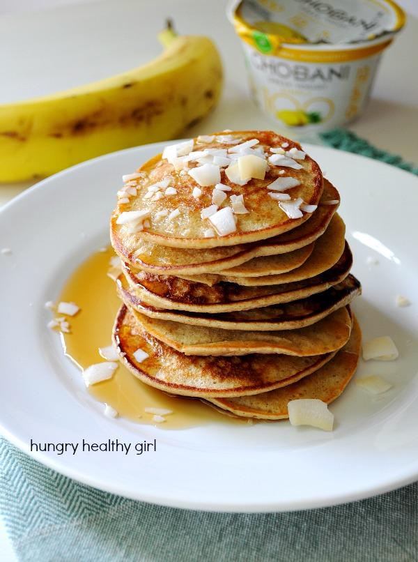 Banana Oat Greek Yogurt Pancakes