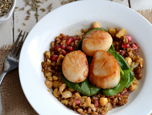 rye berry pomegranate scallop salad