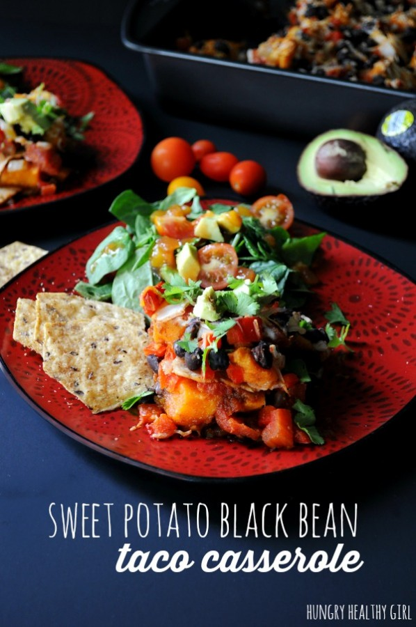 Sweet Potato Black Bean Taco Casserole- A family-friendly Mexican inspired meal, that's as tasty as it is healthy.