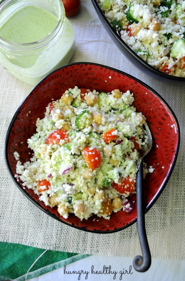 cauliflower couscous with creamy cilantro lime dressing