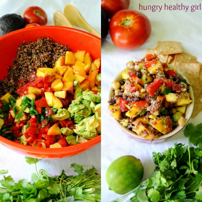 The best ever Summer Quinoa Salad- packed with tomatoes, peaches and black beans. #glutenfree #healthy #vegan