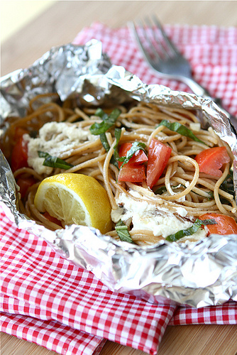 Grilled Whole Wheat Pasta in foil packets