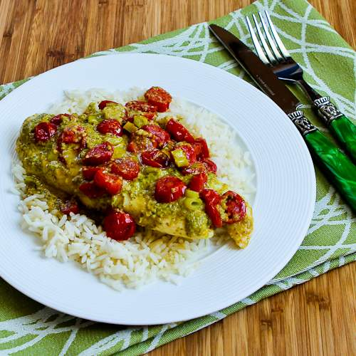 Foil-Wrapped Grilled Tilapia Packets with Pesto, Tomatoes, and Green Onions