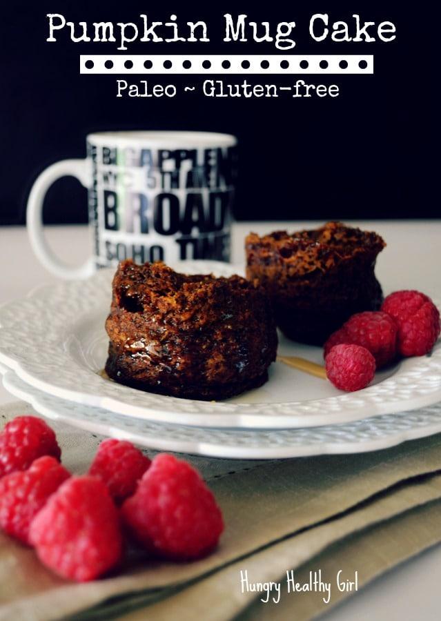 Paleo, Gluten-free Pumpkin Mug Cake- an easy healthy breakfast or snack!