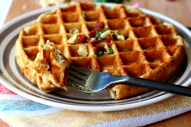 Savory Bacon and Cheese Waffles- sweet waffle batter with savory bacon and cheese is truly a match made in breakfast heaven!
