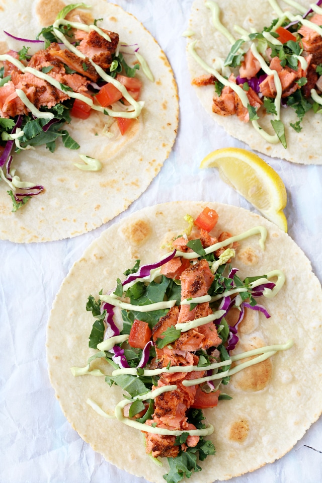 Seared Salmon Tacos with Avocado Crema