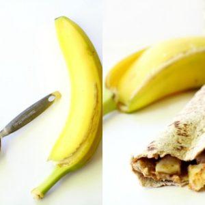 Almond butter + banana + Flatout = snack perfection!
