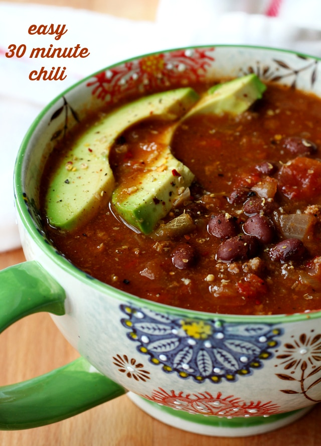 Easy 30 Minute Chili- You won't believe how incredibly flavorful this quick and easy chili tastes.
