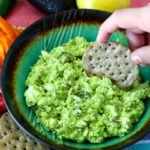 Avocado Feta Dip- Tangy feta cheese, creamy avocado, roasted garlic and jalapeno, lemon and olive oil combine to create a simple crowd-pleasing dip.