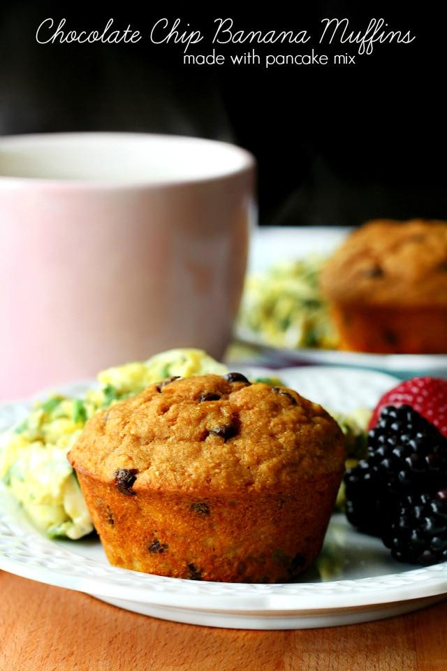 Chocolate Chip Banana Pancake Mix Muffins