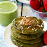 No need to worry about the color- these green smoothie pancakes have the loveliest sweet flavor and you won't even taste the spinach!