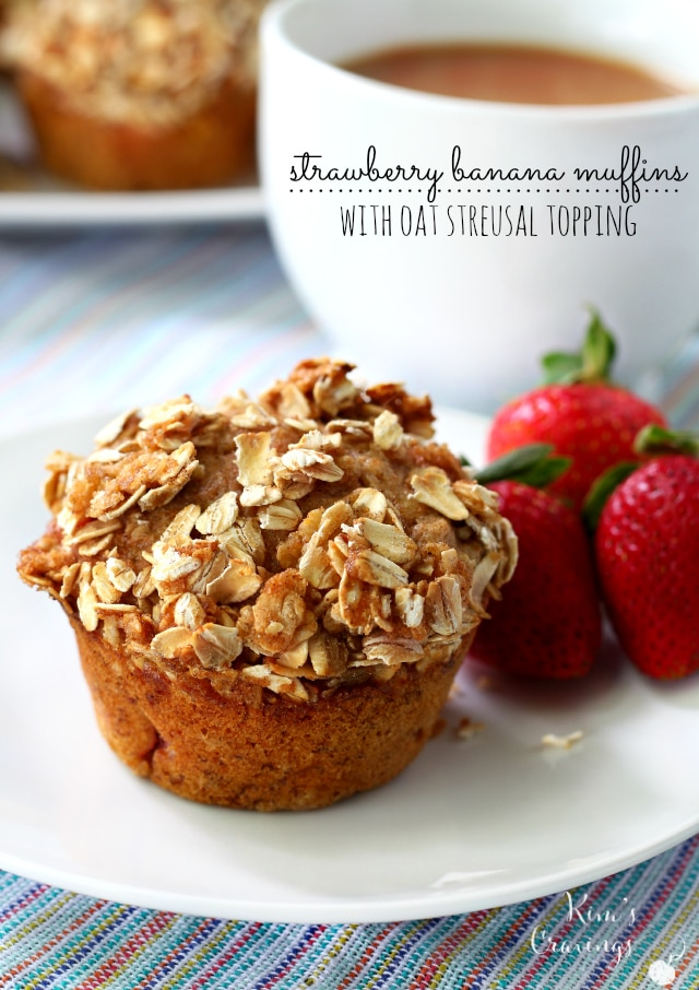 Strawberry Banana Whole Grain Muffins filled with juicy strawberries ...
