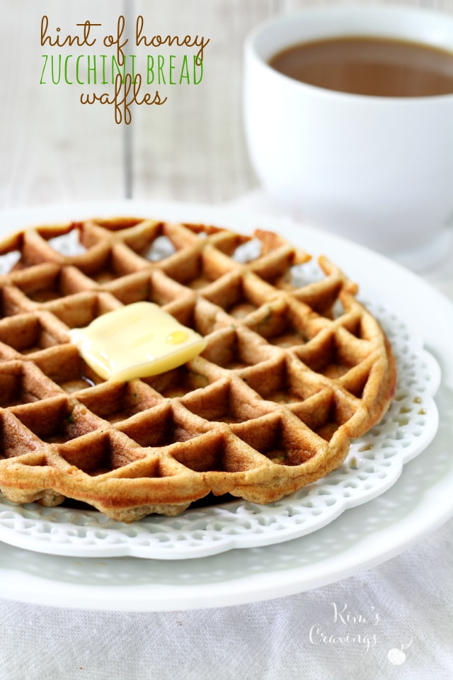Hint of Honey Zucchini Bread Waffles- soft and fluffy with just enough ...