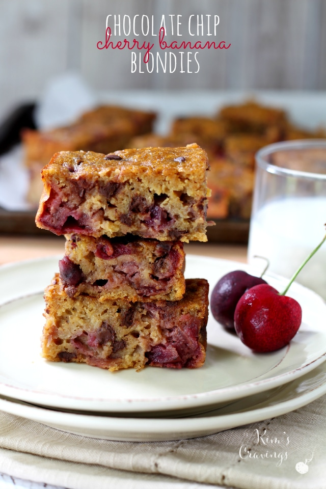 Chocolate Chip Cherry Banana Blondies- juicy cherries combine with ...