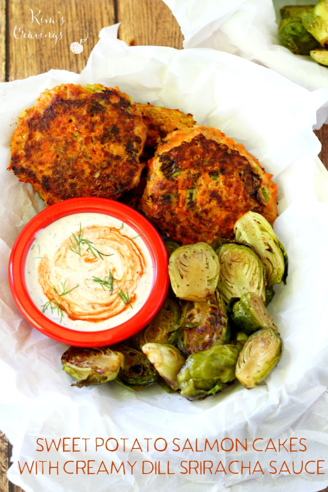 Sweet Potato Salmon Cakes with Creamy Dill Sriracha Sauce- creamy ...