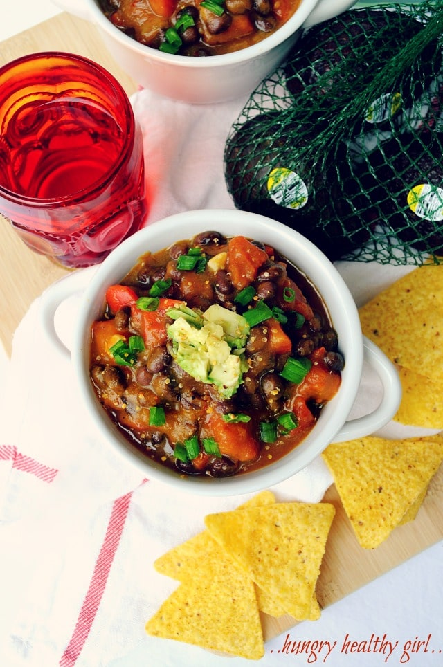 This vegan pumpkin black bean chili is so hearty and satisfying you'll never miss the meat. The pumpkin adds a delicious creaminess to this nutritious chili the whole family will love.
