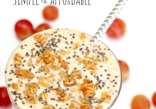 Almond Butter & Grape Yogurt Smoothie- addicting frozen grapes blended with yummy almond butter, creamy Greek yogurt and naturally sweet banana creates an incredibly nutritious delicious treat.