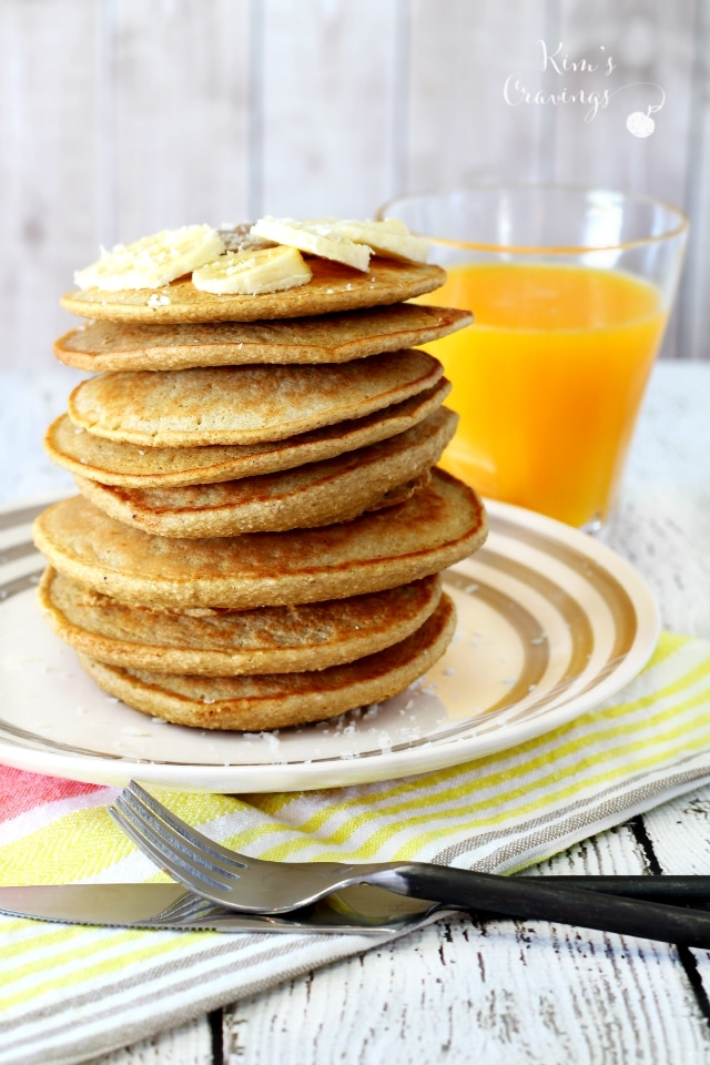 So super easy and yummy- these Banana Oat Blender Pancakes come together in about 5 minutes and are full of nutritious goodness!