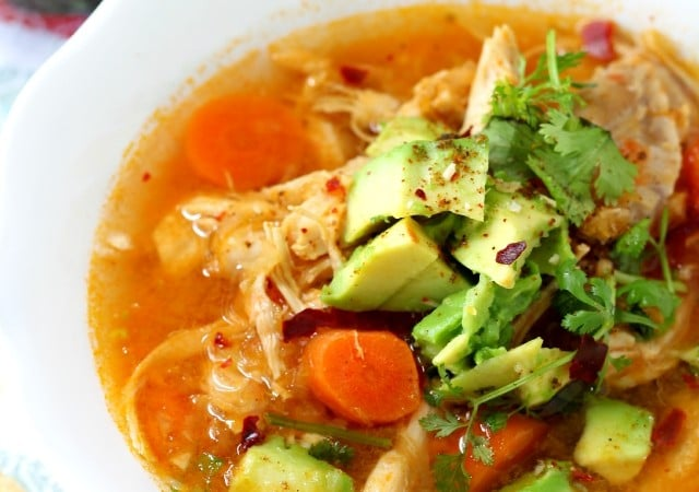 This skinny chicken tortilla soup is as clean as they come, but don't worry just because it lacks many calories, it is not lacking in flavor one little bit!