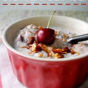 cherry overnight oatmeal- cool, creamy and so satisfying- keeping me full all the way till lunch.