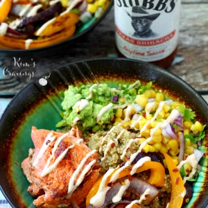 The Sriracha Salmon Quinoa Bowl is a fun twist on the burrito bowl. A flavorful blend of old favorites joined with new deliciousness! (gluten-free)