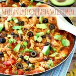 Quick, easy and tasty! This effortless Mexican Chicken Pasta Skillet Meal comes together in 20 minutes flat. Now, that's a busy weeknight dinner I can get down with!