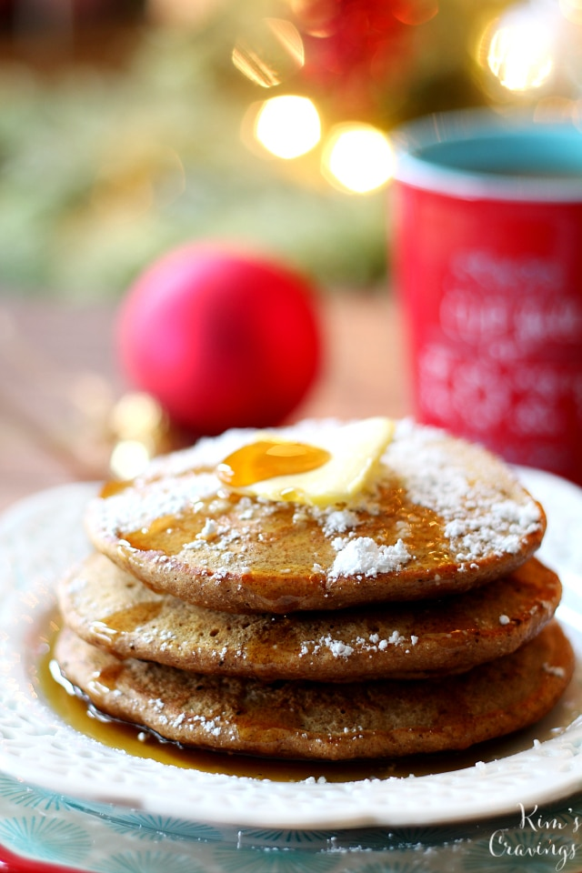 These fluffy Skinny Gingerbread Pancakes are bursting with warm holiday spices. Serve these up Christmas morning or any morning for the most perfect seasonal treat!