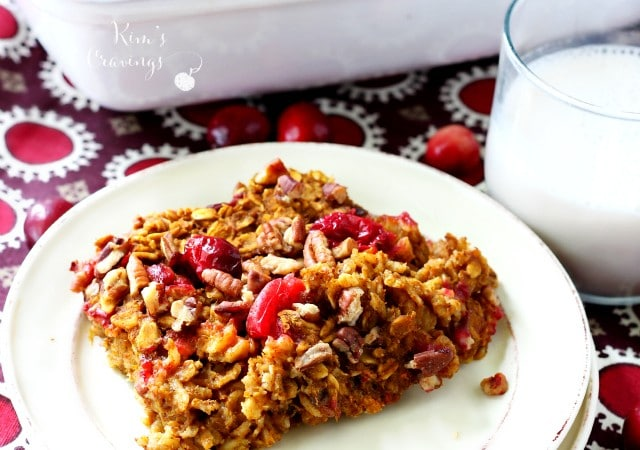 Pumpkin Cranberry Baked Oatmeal is a scrumptious combination of warm pumpkin spice, tart cranberries and perfectly sweet maple flavoring. (vegan, gluten-free & dairy-free)
