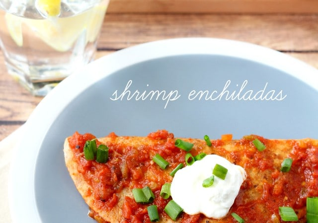 Mexican food is always a good choice for an easy weeknight meal the whole family will enjoy and these irresistible shrimp enchiladas topped with salsa and sour cream cook up easy and quick!