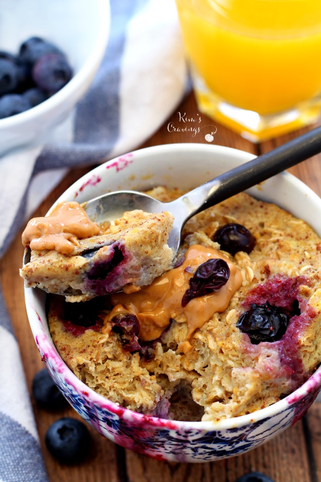 "3 Minute Blueberry Banana Microwave ""Baked"" Oatmeal in a Mug- quick, easy and oh so scrumptious!"