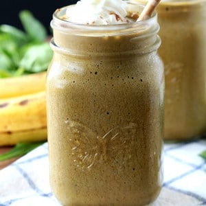 Homemade Protein Coffee Frappuccino- A lightly sweetened, irresistibly creamy, easy frappe that's healthy enough to enjoy for breakfast.