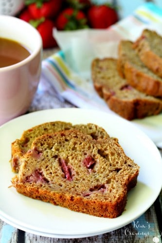 Strawberries and bananas make the most delicious pairing in this lovely Whole Grain Strawberry Banana Bread.
