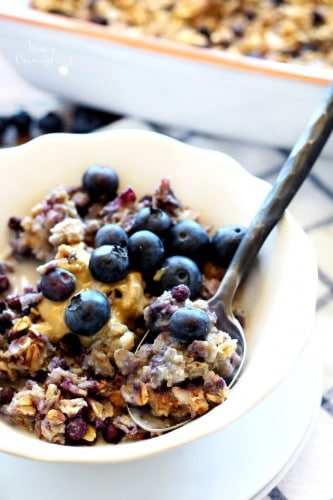 Blueberry Cheesecake Baked Oatmeal is creamy, hearty and mouthwatering delicious! It's the perfect make-ahead breakfast to fuel your morning.