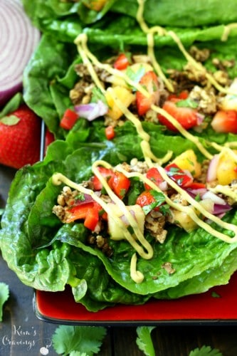 These Healthy Taco Lettuce Wraps have a secret- not only are they packed with irresistible rich flavor, but the meat marries perfectly with savory, earthy mushrooms to take these taco lettuce wraps over-the-top and will leave you begging for more!