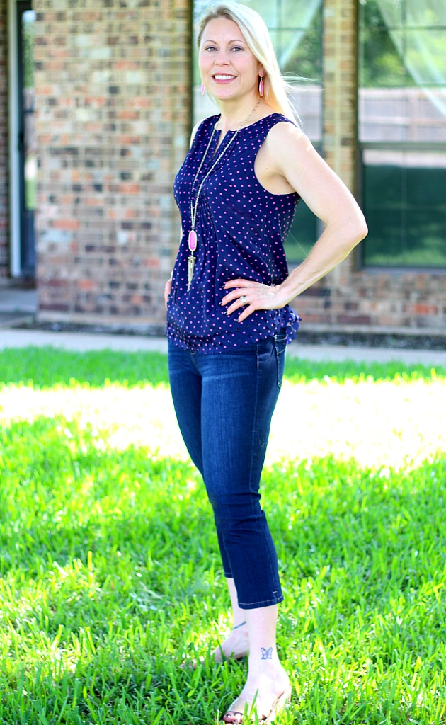 June 2016 Stitch Fix Review- Juli Lasercut Detail Blouse by Market & Spruce and Robby 4-Way Stretch Capri Skinny Jean by Liverpool