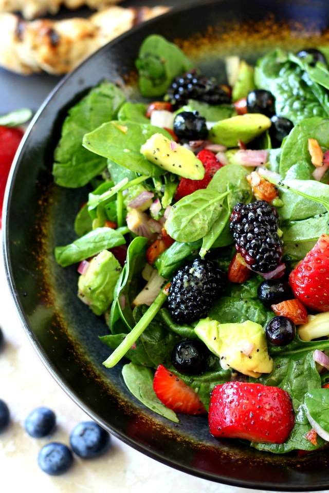 Bursting with fresh summer berries, Triple Berry Almond Spinach Salad ...