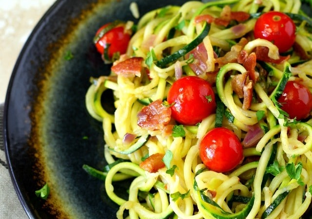 Easy Bacon Tomato Zucchini Noodles- fresh, flavorful, and healthful – perfect for summer and easy to prepare in less than 30 minutes!