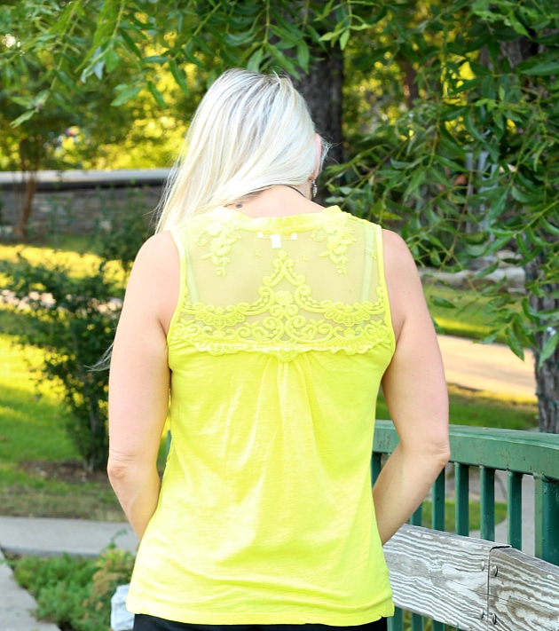 August 2016 Stitch Fix Review- Abiga Lace Detail Knit Tank by Skies are Blue| XS | 48.00