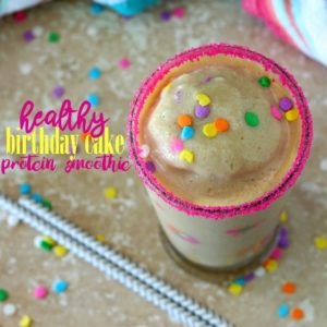 Healthy Birthday Cake Protein Smoothie + Blendtec Giveaway