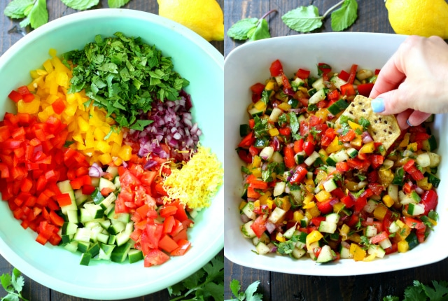 This Israeli Salad With Red Bell Vinaigrette is so pretty, colorful, refreshing and zesty. Essentially summer in a bowl!