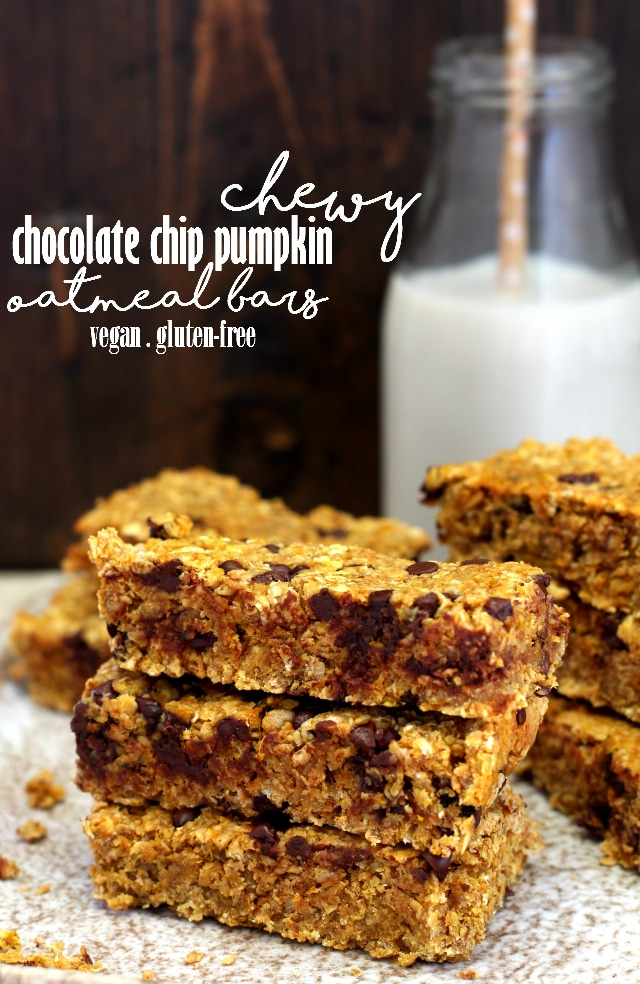 Chewy Chocolate Chip Pumpkin Oatmeal Bars - Kim's Cravings