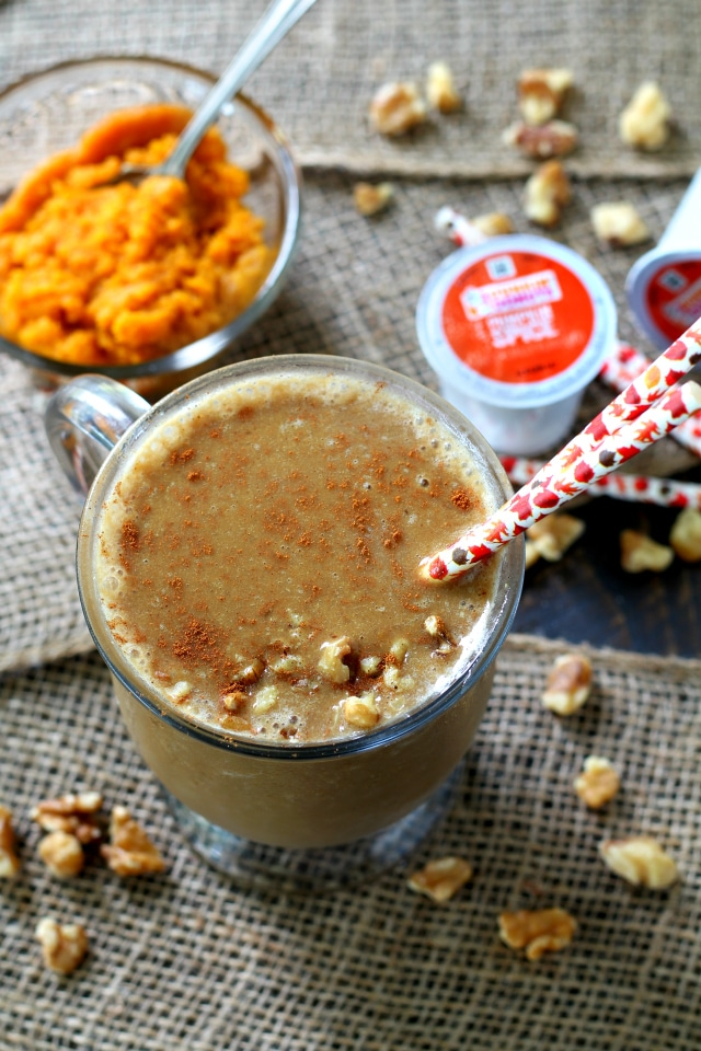 Vanilla Pumpkin Spice Frappuccino- a healthy fall-inspired smoothie to keep you cool and refreshed. Rather you enjoy this Frappé for breakfast, as post workout recovery or an afternoon pick-me-up you're in for a super tasty treat.