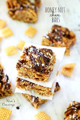 Sticky, sweet, crunchy… Honey Nut Chex Bars are simply irresistible! Made gluten-free and vegan (if you use regular corn Chex), so all can enjoy!